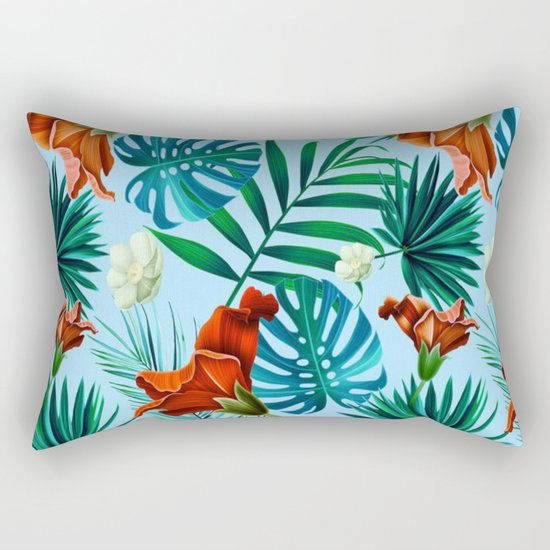 Sky blue tropical floral Rectangular Pillow