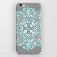 bedding iPhone & iPod Skins featuring Teal and Aqua Lace Mandala on Grey by micklyn