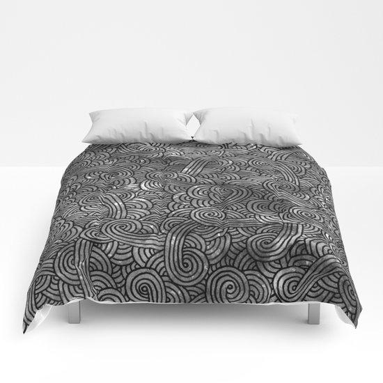 Grey and black swirls doodles Comforters