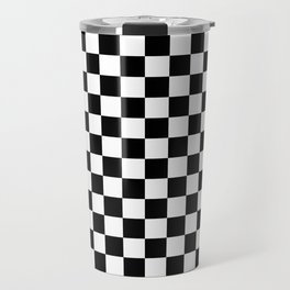 White and Black Checkerboard Travel Mug