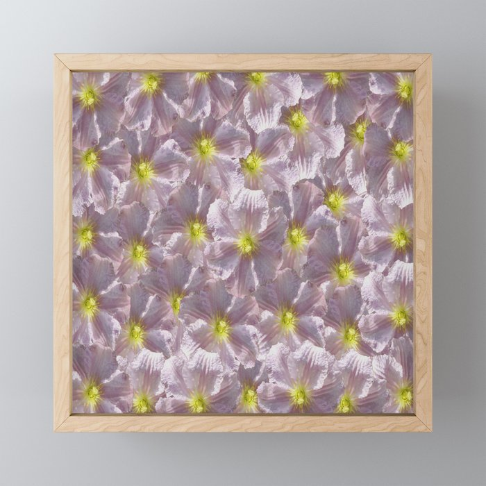 Taupe Grey Floral Framed Mini Art Print