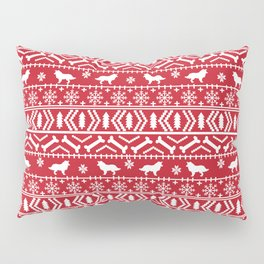 Border Collie fair isle christmas red and white holiday sweater dog breed gifts Pillow Sham