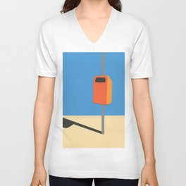 Orange Trash Can Unisex V-Neck