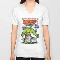 muppet V-neck T-shirts featuring Incredible Meep by Hoborobo