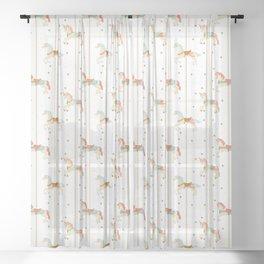 Carousel Horses Sheer Curtain