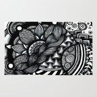 zentangle Area & Throw Rugs featuring zentangle by goyye