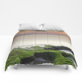 """Green, white and red beach"" Comforters"