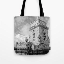 Belem Tower Black white photo Tote Bag