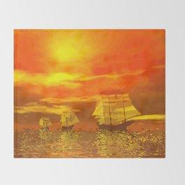 Segelschiffe im Sonnenschein Throw Blanket