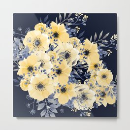 Floral Watercolor Print, Yellow and Navy Blue, Design Prints Metal Print