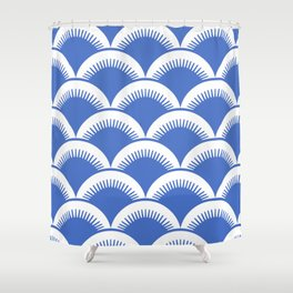Japanese Fan Pattern Blue 2 Shower Curtain