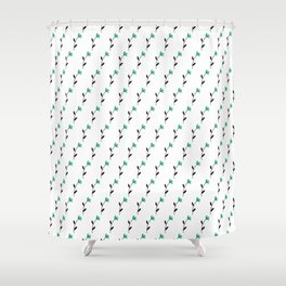 Teal Floral Stems Shower Curtain