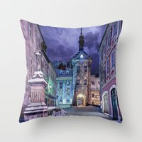 gotham Throw Pillows featuring Gotham by Robin Curtiss