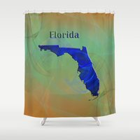 florida Shower Curtains featuring Florida Map by Roger Wedegis