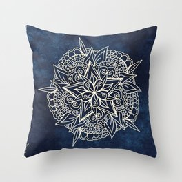 Cream and navy mandala on indigo ink Throw Pillow