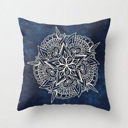 Cream and navy mandala on indigo ink Throw Pillow