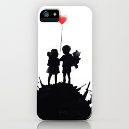 Banksy, Kids with heart balloon iPhone Case