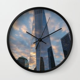 World Trade Center Clouds Wall Clock