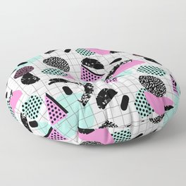Joshin - memphis throwback retro pop art geoemetric pattern print unique trendy gifts dorm college Floor Pillow