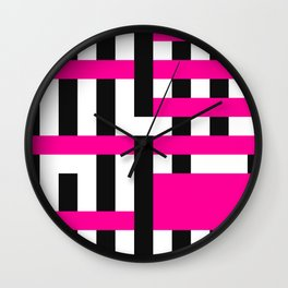 Licorice Bytes, No.18 in Black and Pink Wall Clock