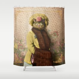 Lady Vanderkat with Roses Shower Curtain