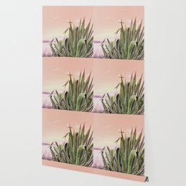 Agave in the Garden on Pastel Coral Wallpaper