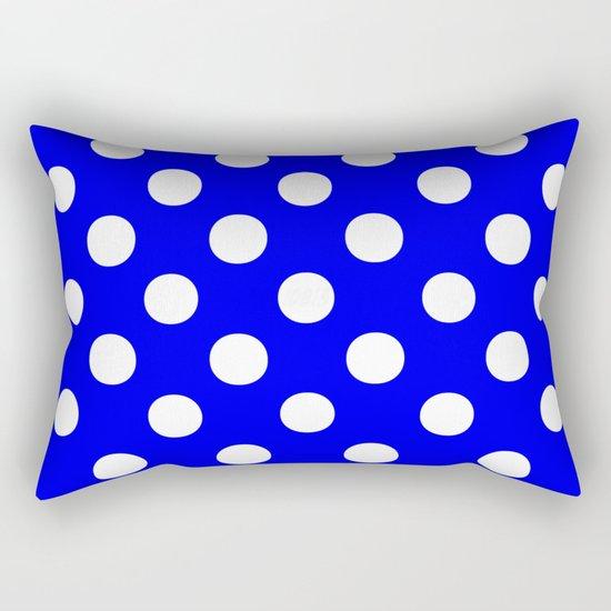 Polka Dots (White/Blue) Rectangular Pillow