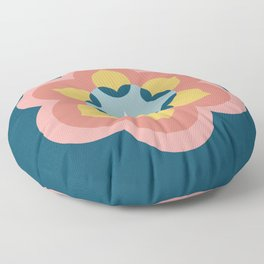 Modern Bloom in Navy and Pink Floor Pillow