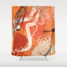Ignite: a fiery and loud abstract piece in reds, orange, and plum Shower Curtain
