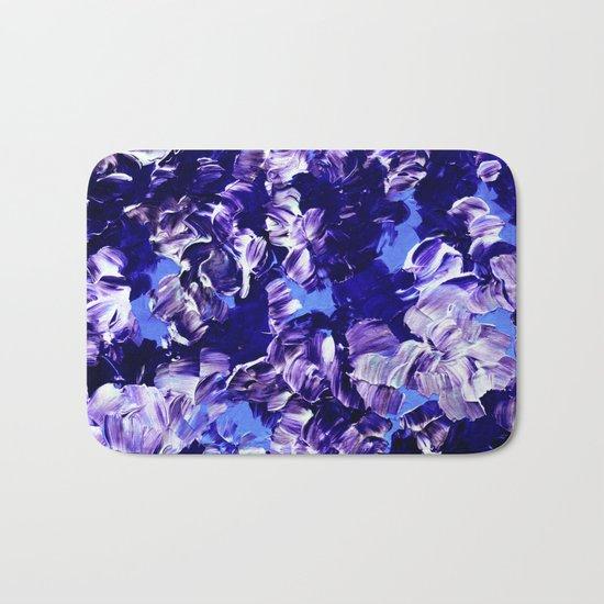 FLORAL FANTASY 2 Bold  Blue Lavender Purple Abstract Flowers Acrylic Textural Painting Garden Art Bath Mat