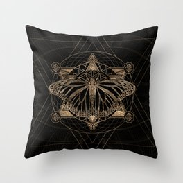 Butterfly in Sacred Geometry - Black and Gold Throw Pillow
