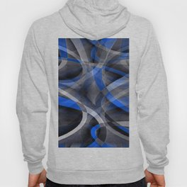 Eighties Themed Cool Blue Curved Line Pattern Hoody