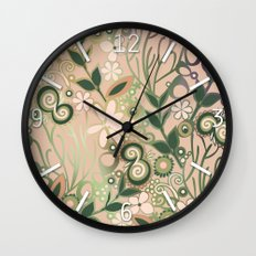 Detailed square of peach and green floral tangle Wall Clock