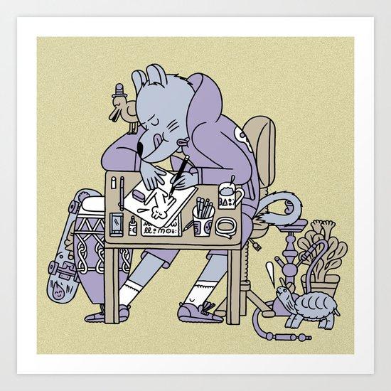 draw a cat  Art Print