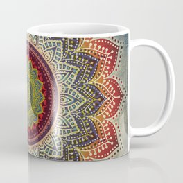 Retro Folk Art - Spirit Lotus Mandala Blue Red Coffee Mug