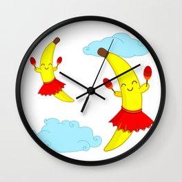 Kawaii Super Cute Flying Happy Bananas Playing Maracas Wall Clock