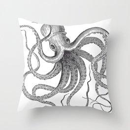 Engraving Octopus Throw Pillow