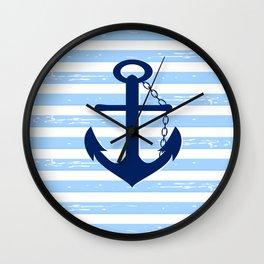 AFE Nautical Blue Ship Anchor Wall Clock