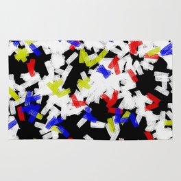 Primary Strokes - Abstract, primary colour & black and white raw paint brush strokes Rug