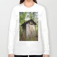 outdoor Long Sleeve T-shirts featuring Outdoor toilet by jim snyders photography