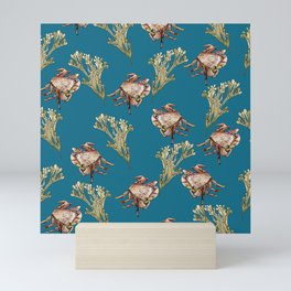 Blue Hemigrapsus with seaweed Mini Art Print