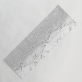 Modern faux grey silver glitter ombre white marble Yoga Mat