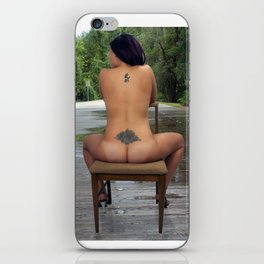 Nude Woman Sitting on a Bridge iPhone Skin