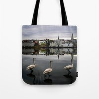 iceland Tote Bags featuring Iceland Geese by Michelle McConnell