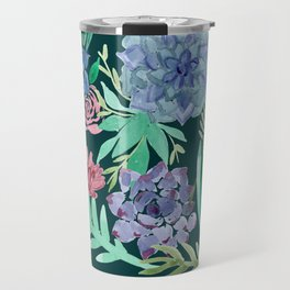 Watercolor Succulent Collage Travel Mug