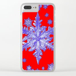DECORATIVE PURPLE TINTED SNOWFLAKES ON RED Clear iPhone Case
