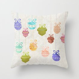 Colorful Watercolor Christmas Ornaments Throw Pillow