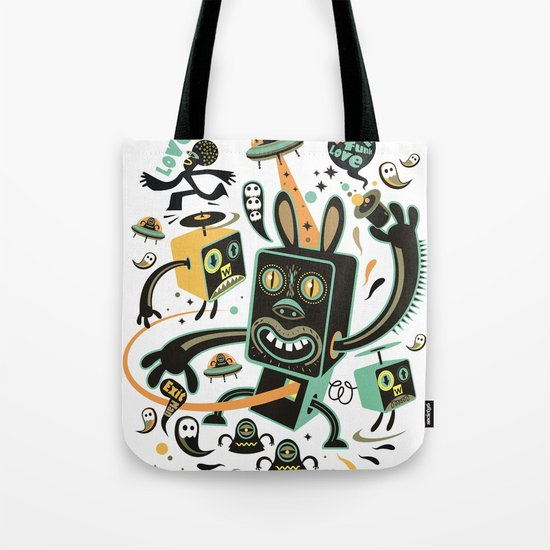 Little Black Magic Rabbit Tote Bag