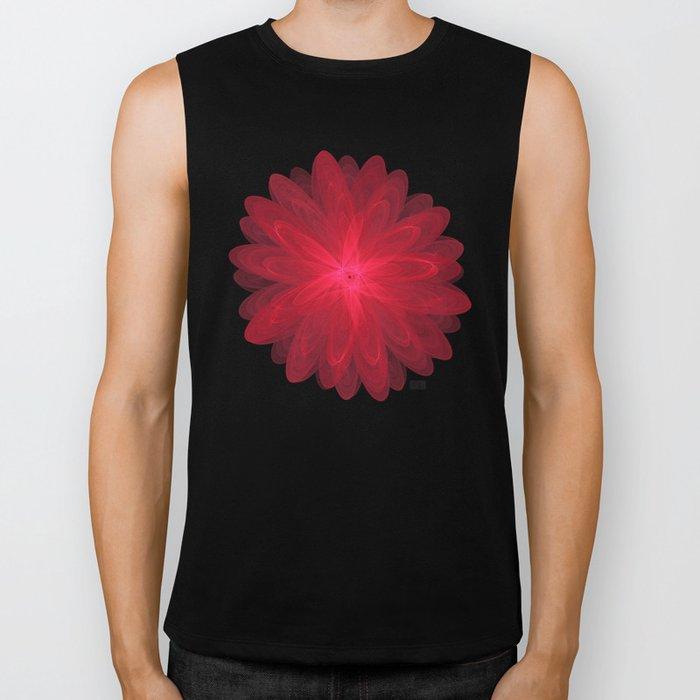Red Flower Bloom Fractal Biker Tank