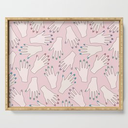 Pastel Manicured Hands Pattern Serving Tray